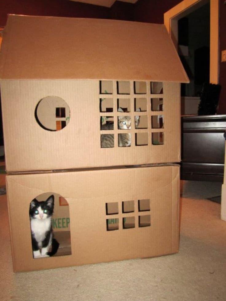Кошке домик из коробок своими руками 17