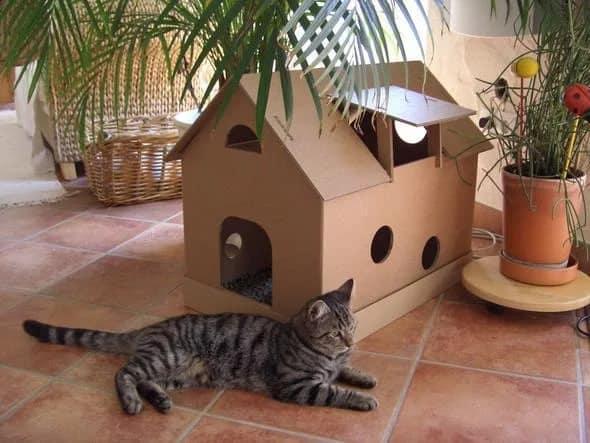 Как сделать дом из коробок для кота