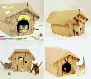 сделать домик для кошки из картона своими руками